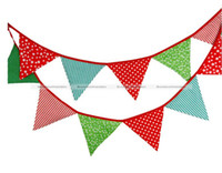 Wholesale Wholesale Fabric Bunting - Wholesale- 12 Flags-3.3M Cotton Fabric Banners Bunting Party Boy Birthday Garden Garland Christmas Free Shipping SMB 43916413