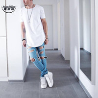 Wholesale Kpop Clothing Wholesale - Wholesale- Man si Tun 2017 Summer Men Short Sleeve Extended Hip Hop T shirt Oversized Kpop Swag Clothes Men's Casual kanye west T Shirt