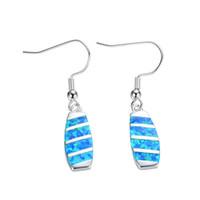 Wholesale Fire Opal Drop Earrings - Female Ethnic Drop Earring Blue Fire Opal Earrings 925 Sterling Silver Filled Double Earrings For Women Fashion Jewelry