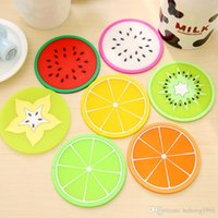 Wholesale Drink Coffee Cup Holder - Coaster Creative Non Slip Jelly Silicone Fruit Shape Cute Placemat Coffee Tea Cup Drink Holder Mat Colorful Kitchen Tool 0 45xf F R