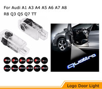Wholesale Q5 Audi - LED Car Door Logo Projection Light For AUDI a3 a4 b6 a6 c7 c5 q7 q5 a5 80 b7 b8 tt b8 RS4 RS5 RS6 S4 S5 S6 S7 RS Sline quattro