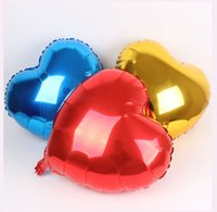 Wholesale Inflatable Balloon Heart Shape - 18 inch Multicolor heart shape Aluminum foil balloons wedding decoration love helium balloon inflatable air balls party supplies