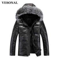 Wholesale fox fur leather jacket men - Wholesale- VESONAL Down Jacket Men Leather Jacket Male Down Coat Jackets Windproof Warm Fox Fur Collar NEW 2017 Autum Winter