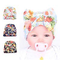 Wholesale Wholesale Baby Vintage Hats - Newborn hat Boutique Maternity Accessories Baby girl knit Hats Vintage cotton bow hats Cap florals Maternity Autumn winter 0-3months 2016
