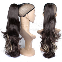 Wholesale Brown Hair Extensions Highlights - Long Wavy Brown Ponytail Hair Extensions Clip on Ponytail with Blonde Hair Highlights Brown Hair Tail