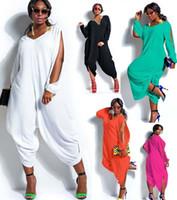 Wholesale womens long sleeve romper - Wholesale- Fashion Womens Long Sleeve Romper Baggy Harem Jumpsuit Playsuit Plus Size 5 Colors