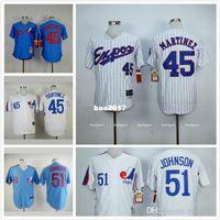 mlb jersey cheap 1982 montreal expos 45 pedro martinez 51 randy johnson blue white premier stitched