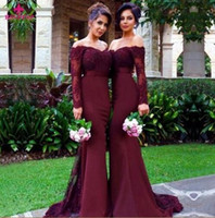 Wholesale Sleeves Mermaid Bridesmaid - Hot Sale Mermaid Purple Bridesmaid Dresses 2017 Strapless Long Sleeve Backless Sweep Train Ribbons Sexy Long Wedding Party Gowns 2017