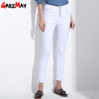 Wholesale High Waist Korean Button Jeans - Women's Jeans 2017 korean femme femininas white denim high waist Pencil skinny pants Jeans trousers Clothing For Women Female