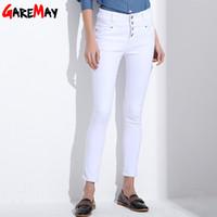 Wholesale Korean High Waist Jeans - Women's Jeans 2017 korean femme femininas white denim high waist Pencil skinny pants Jeans trousers Clothing For Women Female