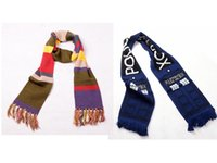 Wholesale Warm Soft Knitted Scarf - 1pc Deluxe Doctor Who Scarf Fourth 4th Dr. Thick Warm Soft Knitted Striped Scarves with Tassels Xmas Birthday Gift Cosplay