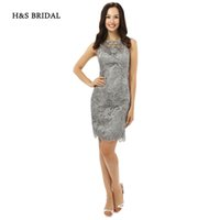 Wholesale Mother S Evening Dresses - H&S BRIDAL 2017 New Arrival Short Grey Lace Formal Evening Dresses Women Knee Length Mother Of The Bride Dresses sh0093