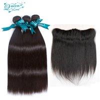 costura de cabelo peruana venda por atacado-Peruano cabelo Virgem 3 cabelo com Orelha 13x4 Orelha A Orelha Fechamento Frontal Do Laço Com Bundles 100% Cabelo Humano Costurar Em Extensões queenlov