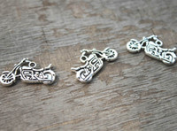 Wholesale Silver Motorcycle Charms Wholesale - 20pcs Motorcycle Charms Motorcycle Pendants Antiqued Tibetan Silver Double Sided 24 x 15 mm