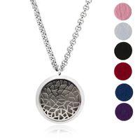 mücevherat için renkli zincirler toptan satış-Aromaterapi Uçucu Yağ Difüzörü Kolye Madalyon Kolye Takı Hediye Seti ile 24