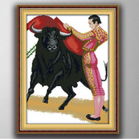 Wholesale spanish paintings for sale - Group buy Spanish bullfighter diy home decor painting CT counted printed on the canvas DMC Cross Stitch kits CT needlework Set