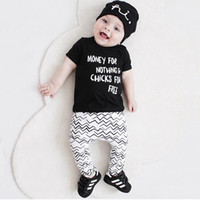 Wholesale New Wave Clothing - 2017 INS Infant Outfits Baby boy clothes letters Black T shirt short sleeve+ wave pant 2pcs Set 2017 summer New arrival