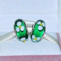 Wholesale European Green Lampwork - DIY Loose Beads Handmade Lampwork 925 Sterling Silver Green Daisy Murano Glass Charm Bead Fits European Pandora Jewelry Bracelets