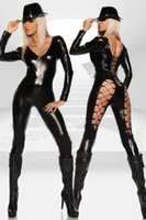 Wholesale Lace Catwoman Costume - Women Sexy Black Punk Gothic Lace-Up Costume Leg Deep V Neck Catsuit Wet Look Pole Dancing Outfit Exotic Catwoman Cosplay Jumpsuit
