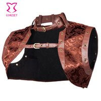 Wholesale Women Gothic Costume Plus - Brown Sexy Brocade and Faux Leather Steampunk Corset Women Jacket 2016 Plus Size Gothic Clothing Burlesque Costume Accessories