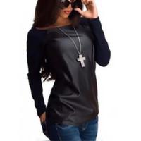 deri kılıf tişört kadın toptan satış-Toptan-Kadınlar Uzun Kollu Mürettebat Boyun T-Shirt PU Deri Slim Fit S-XL Sıcak Tops