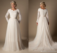 Wholesale Size 16 Informal Wedding Dress - 2016 Vintage Lace A Line Wedding Dresses With Long Sleeves Covered Buttons Court Train Informal Country Garden Bridal Wedding Gowns Cheap