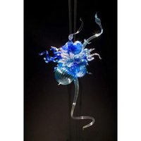 Wholesale Murano Glass Pendants Blue - Small and Cheap Blown Glass Chandelier Light Home Decor Modern Artistic LED Light Source Colored Murano Glass Designed Chandelier Lamps