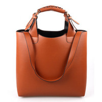 Wholesale Big Button Cell - 2017 new fashion ladies package simple Ladies PU Leather Handbag retro bag European and American style big shoulder bag handbag shoulder ba