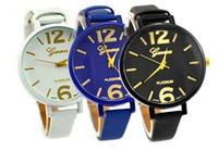 Wholesale Lady Dress Big Woman - Fashion colourful design women ladies geneva big number leather watch 2017 new wholesale casual lady dress quartz wrist watches
