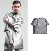 Wholesale Striped Plus Size Tee Shirts - Large Size Loose Men's T-shirt New Fashion Striped Tee Shirt European Streetwear Hip Hop T-shirts Men Brand Tees Tops Plus Size MT008