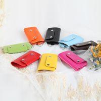 Wholesale Hanging Wallets - Key Organizer Multi Color PU Leather Storage Set Hanging Six Strings Of Keys Holder Bag Portable Mini Wallet 1 2xg F R