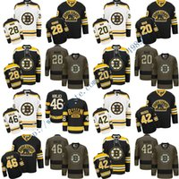 Compra Nero Bianco Moore-Uomo Boston Bruins 20 Riley Nash 28 Dominic Moore 42 David Backes 46 David Krejci Premier bianco nero casa Jersey ricamati