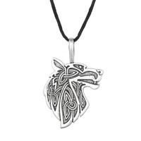 Wholesale Celtic Knot Pendant Wholesale - Wholesale-Odin Raven Norse Wolf Pendant Viking Jewelry Fox Triquetra Fenrir Animal Teen Wolf Necklace Men Female Supernatural Amulet Knot