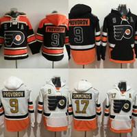 hoodie do jérsei do hóquei dos homens venda por atacado-# 9 Ivan Provorov Philadelphia Flyers Hóquei Jersey Hoodies 100 Remendo Dos Anos Dos Homens de Costura Bordado Logos Camisolas Jerseys Preto