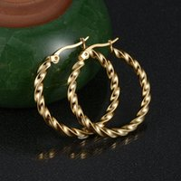 Wholesale Earrings Hoops Wave - Factory Direct Never Fade 316L Stainless Steel Loop Earrings Wave Shape 30mm Hoop Earrings For Women Jewelry