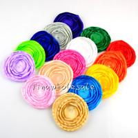 Wholesale Hair Color Edges - mix color Newest Cheapest headmade round burn edge satin fabric flower