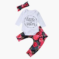 Wholesale Little Girl Pants Outfit - 2018 Ins Spring Baby girl Outfits Little sister Letters Romper + Retro Floral Printed Pants with Bow headband Three-piece set New arrival