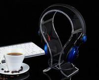 kopfhörerhalter stehen großhandel-2017 neue U-artigen Acryl Kopfhörer Display Ständer Universal Headset Unterstützung tisch Headset Halter kopfhörer display halter Rack kostenloser versand