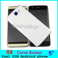 Wholesale Cheapest 3g Dual Camera Phone - Cheapest S8 5 Inch Smartphone MTK6572 Dual Core Android 5.1 Dual SIM 3G Unlocked Curved Screen Mobile Cell phone With Front Flashlight