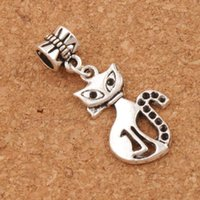 Slim Lady Cat Metal Big Hole Beads 100pcs / lot Antique Silver Dangle 16x36 mm Fit European Charm Bracelets B1160