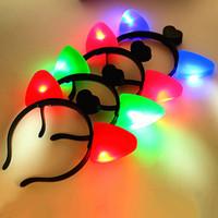 Wholesale Hair Head Hoop - Cat Ears Headband Plastic LED Light Up Head Hoop Glowing In The Dark Halloween Decoration Hair Band Cute 1 39by B R