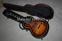 Wholesale Electric Lp Guitar - Hot Sale lp Custom electric guitar water ripple maple cover mahogany body real guitar pic chrome hardware with hardcase