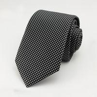 Wholesale Tecido Polyester - 7 CM black Dots laços Corbatas Laços Para Homens Ternos Finos Vestidos Da Moda Tecido Gravata Gravatás Laços Do Partido Do Vintage