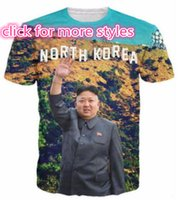 Wholesale korea shorts - New Fashion Couples Men Women North Korea Kim Jong Un 3D Print No Cap Casual T-Shirts Tee Tops Wholesale S-5XL T20