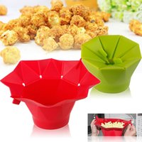 Wholesale Popcorn container Popper bucket Maker DIY Silicone Microwave Popcorn Maker Fold Bucket Red Green Kitchen Tool