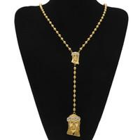 colliers pièce de déclaration achat en gros de-Hip Hop Bijoux cristal diamant Strass Or Rempli Jésus pièces pendentifs déclaration colliers perlé Chaîne Pour hommes Bijoux De Mode