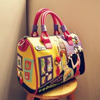 Wholesale Fun City - Wholesale-2016 new women's 3D flower handbag cartoon patchwork big tote fun boston bag with city girl printing