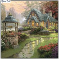 Wholesale villa paintings - MOONCRESIN 5D Diy Diamond Embroidery Pastoral Villa Diamond Mosaic Full Round Diamond Painting Cross Stitch Home Decoration Gift