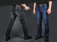 Wholesale Motorcycle Army Combat Men S - New IX7 Military Style Jeans Men Casual Motorcycle Denim Biker Jeans Stretch Multi Pockets Tactical Combat Army Jean