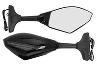 Wholesale Led Mirrors Honda - 2pcs Front&Black Intergrated Amber LED Turn Signal Blinker Rearview Side Mirror For Honda Yamaha Kawasaki Ninja (Smoke, Black)